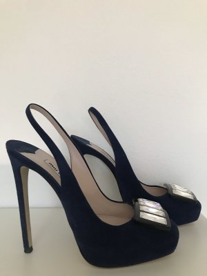 MIUMIU Schuhe Slingbacks Velourleder Blau 37