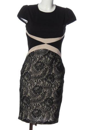Miusol Kurzarmkleid schwarz-creme Elegant