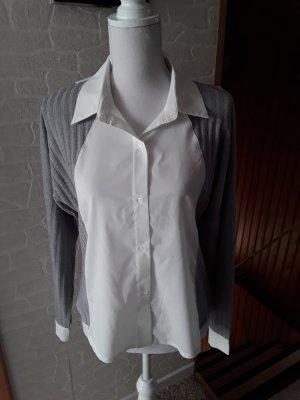 Lesara Camicetta a maniche lunghe grigio-bianco sporco