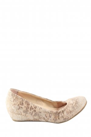 Mjus Keil-Pumps creme-goldfarben abstraktes Muster Casual-Look