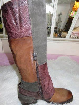 Mjus Stiefel 39, NEU ganz aus Leder braun,bordeaux ,grau Mix.