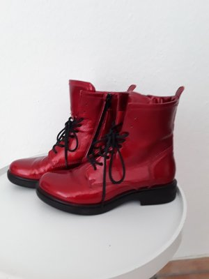 Mjus Lace-up Booties brick red leather
