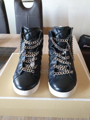 MK Michael Kors Turnschuhe High Sneaker Urban Leder Schwarz Silber Rock 35 Winter