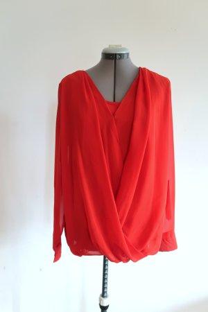 Blusa caída rojo Poliéster