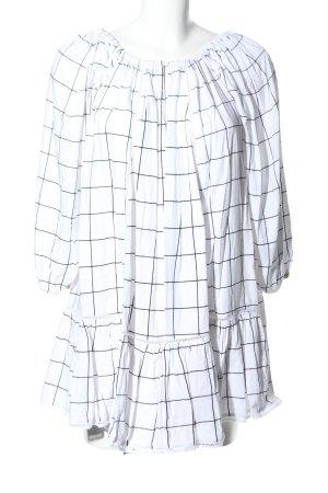 MLM Blousejurk wit-zwart geruite print zakelijke stijl