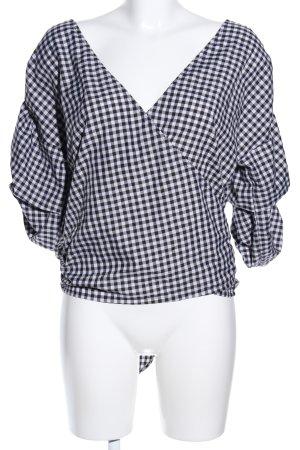 MLM Wickel-Bluse schwarz-weiß Allover-Druck Casual-Look