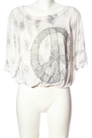 MM UNPLUGGED Oversized shirt lichtgrijs volledige print casual uitstraling