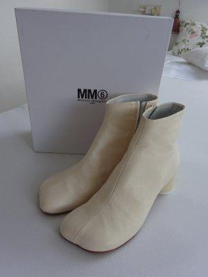 Mm6 By Maison Margiela Botki w kolorze białej wełny Skóra