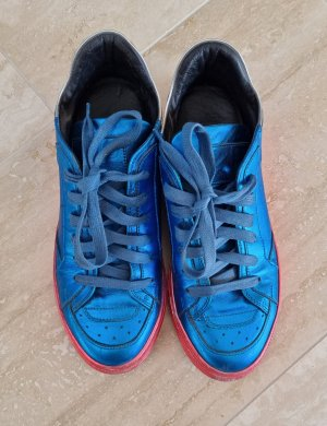Mm6 By Maison Margiela Lace-Up Sneaker neon blue-neon red leather