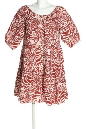 MNG A-Linien Kleid rot-weiß abstraktes Muster Casual-Look