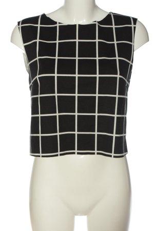 MNG ärmellose Bluse schwarz-weiß Karomuster Casual-Look