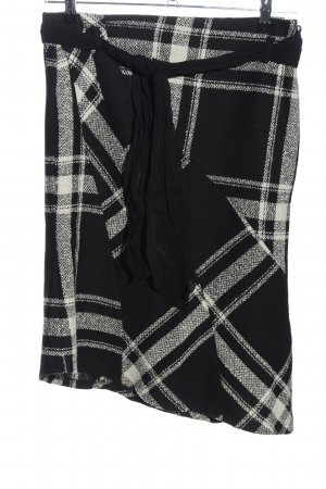 MNG Asymmetry Skirt black-white check pattern casual look