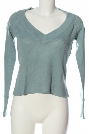 MNG Basics Pull col en V turquoise style décontracté