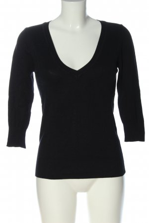 MNG Basics V-Neck Sweater black cable stitch casual look
