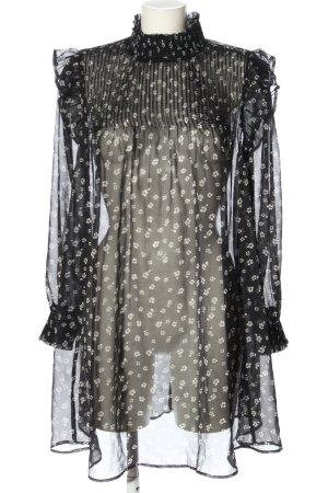 MNG Blusenkleid schwarz-wollweiß Allover-Druck Elegant