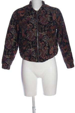 MNG Blouson aviateur noir-brun motif de fleur style décontracté