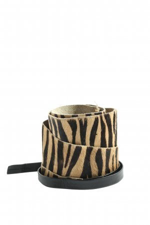MNG Canvas Belt natural white-black animal pattern casual look