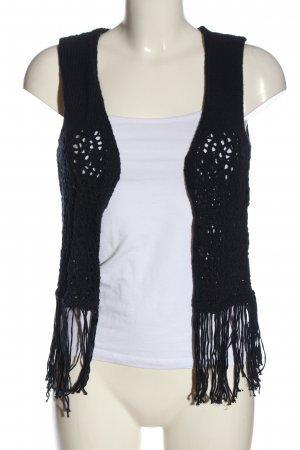 MNG Fringed Vest blue casual look