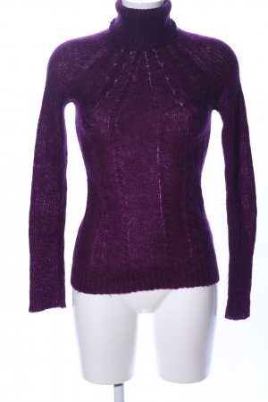 MNG Casual Sportswear Rollkragenpullover lila Zopfmuster Casual-Look