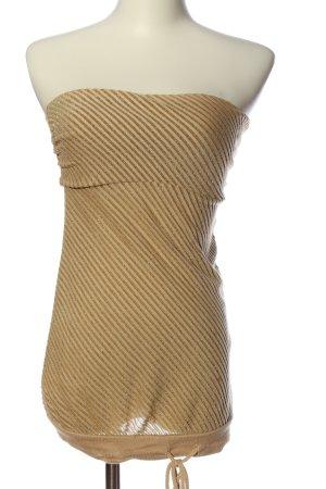 MNG Casual Sportswear schulterfreies Top goldfarben Streifenmuster Casual-Look