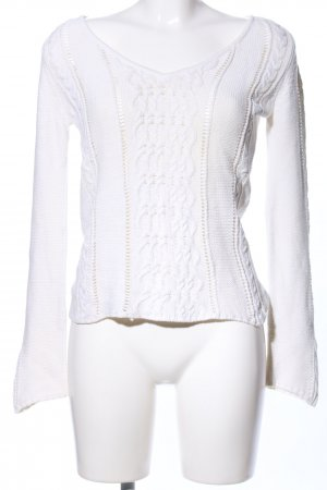 MNG Casual Sportswear Strickpullover weiß Zopfmuster Casual-Look