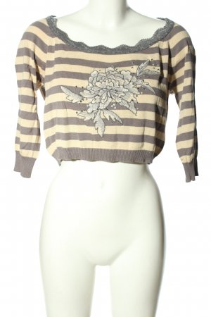 MNG Casual Sportswear Strickshirt creme-hellgrau Motivdruck Casual-Look