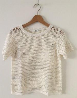 MNG Casual wear Top en maille crochet blanc cassé coton
