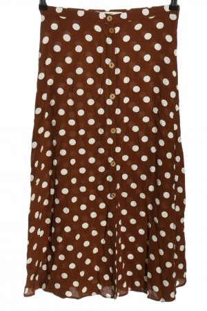 MNG Casual wear Jupe taille haute brun-blanc motif de tache style décontracté