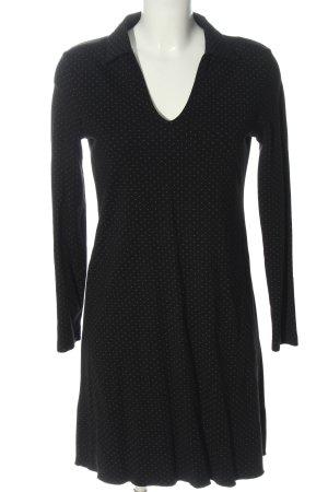 MNG Casual wear Langarmkleid schwarz-weiß Allover-Druck Casual-Look