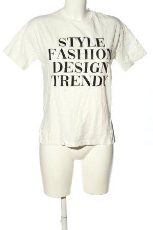 MNG Casual wear T-Shirt weiß-schwarz Schriftzug gedruckt Casual-Look