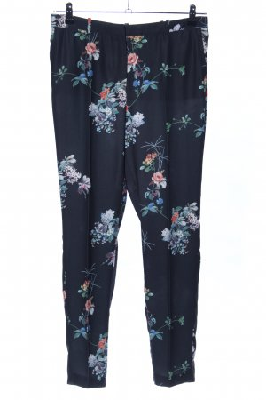 MNG Collection Bundfaltenhose blau-weiß Blumenmuster Casual-Look