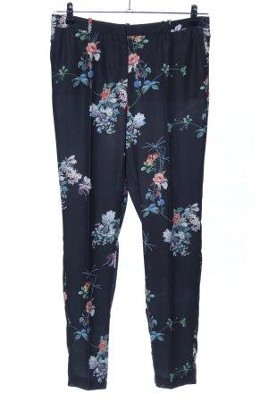 MNG Collection Bundfaltenhose blau-weiß Blumenmuster Casual-Look