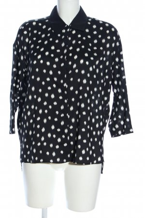 MNG Collection Hemd-Bluse schwarz-weiß Allover-Druck Casual-Look