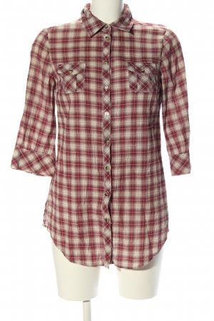 MNG Collection Hemd-Bluse rot-wollweiß Karomuster Casual-Look