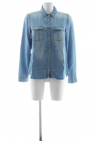 MNG Collection Jeansbluse kornblumenblau Washed-Optik