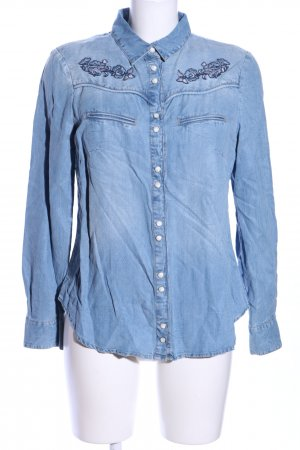 MNG Collection Jeansbluse blau Blumenmuster Casual-Look