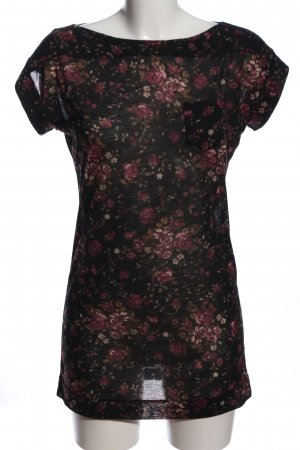 MNG Collection Kurzarm-Bluse schwarz-pink Allover-Druck Casual-Look
