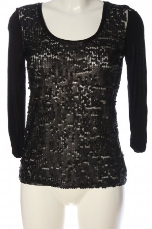 MNG Collection Langarm-Bluse schwarz Glitzer-Optik
