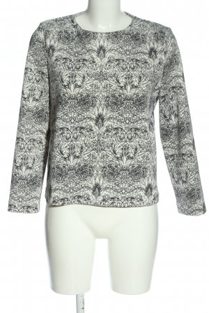 MNG Collection Langarm-Bluse weiß-schwarz abstraktes Muster klassischer Stil