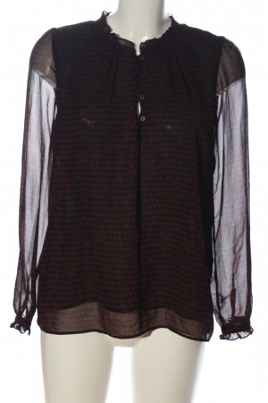 MNG Collection Langarm-Bluse schwarz-rot abstraktes Muster Casual-Look