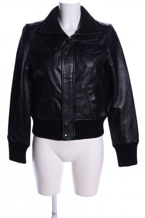 MNG Collection Lederjacke schwarz Casual-Look