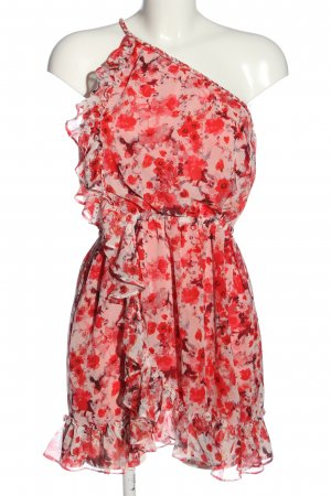 MNG Collection One-Shoulder-Kleid rot-pink Allover-Druck Elegant