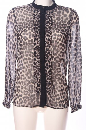 MNG Collection Transparenz-Bluse hellgrau-schwarz Leomuster Casual-Look