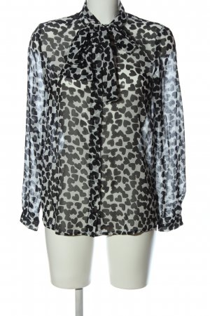 MNG Collection Transparenz-Bluse weiß-schwarz Allover-Druck Casual-Look