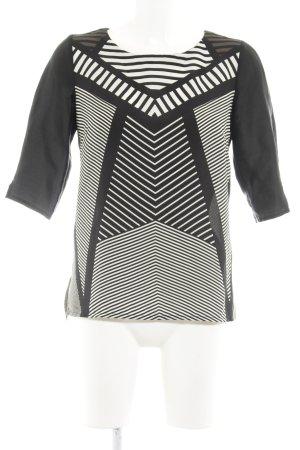 MNG Collection Transparenz-Bluse schwarz-wollweiß Streifenmuster Business-Look