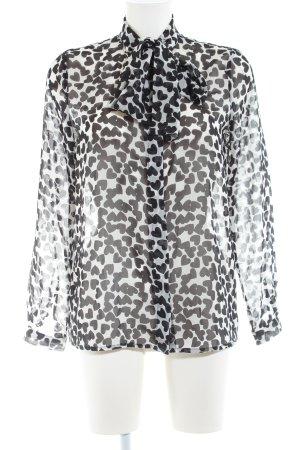 MNG Collection Transparenz-Bluse weiß-schwarz Allover-Druck Elegant