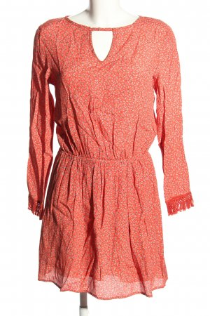 MNG Cut-Out-Kleid rot-creme Allover-Druck Casual-Look