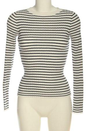 MNG Feinstrickpullover weiß-schwarz Streifenmuster Casual-Look