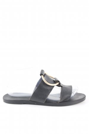 MNG Flip Flop Sandalen schwarz-goldfarben Casual-Look