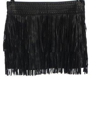 MNG Spódnica z frędzlami czarny Elegancki